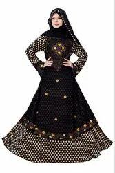 Women's Lycra and Chiffon Printed Polka Dot Style Abaya Burqa With Belt And Hijab Scarf