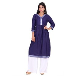 Blue And White Rayon Kurti