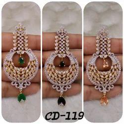 shree gautam creation Golden and golden American Diamond Earrings, Size: MEDIUM