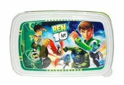 Kotak Sales Leo Cartoon Print Lunchbox 1 Compartment with 2 in 1 Spoon Fork & Container