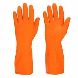 Unisex Orange Rubber Hand Gloves