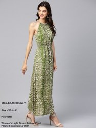 Women's Light Green Animal Print Pleated Maxi Dress With Embellished Neck