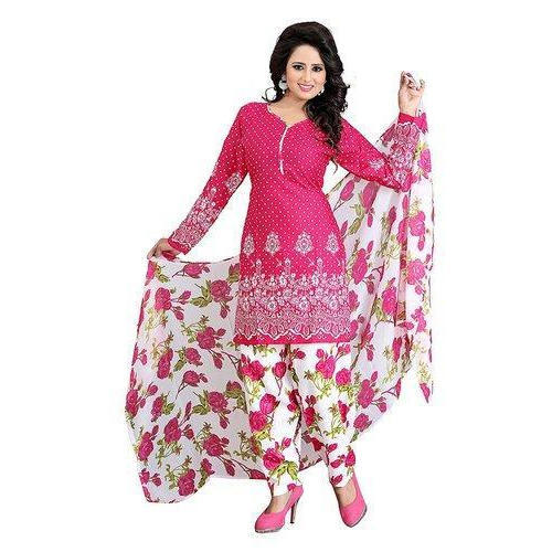 2d7d8c044b8 Pink And White And Green Cotton Ladies Floral Print Salwar Suit