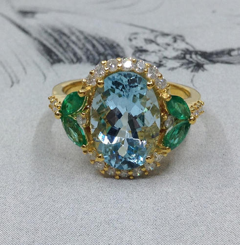 Gemvanity Emerald, Aquamarine And Diamond Studded Gold Ring, Size: Us-7,