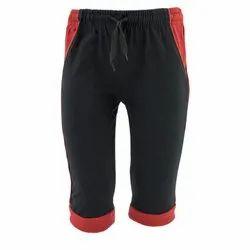 Stretchable Boys Black Cotton Capri