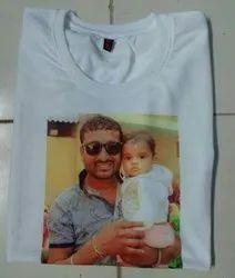 Polycotton White Photo Printed T Shirt, Size: S To Xxl
