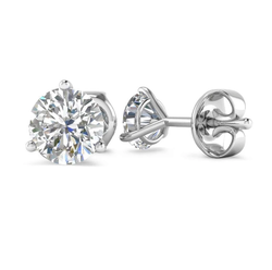 18K White Gold 0.20 Ct Natural Round Diamonds 3 Prong Solitaire Screw Back Stud Earring