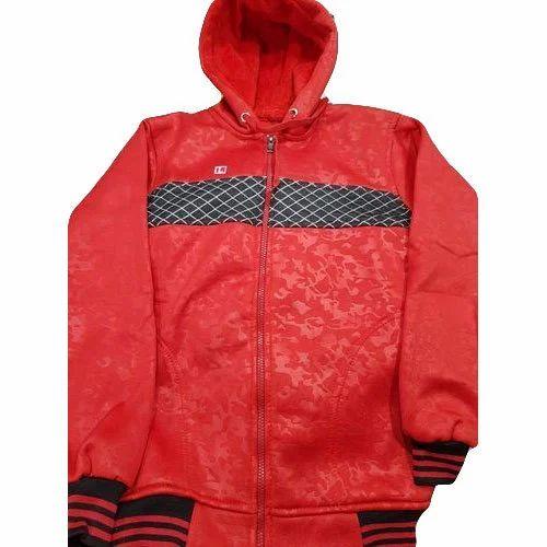 Hooded Womens Red Zipper Sweatshirt ab4f1fe789