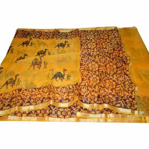 e1e78928c6c73f Cotton Kota Print Block Saree, Length: 6.20 M, Rs 600 /piece   ID ...