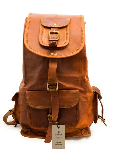 Pure Leather Brown Travel Casual Ladies Leather Backpack R ... 14576f48a826