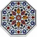 Octagonal Marble Stone Inlay Coffee Table Tops