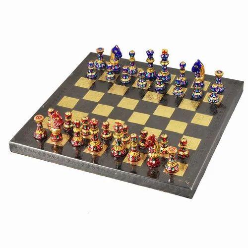Brass Chess Board With Meenakari Work