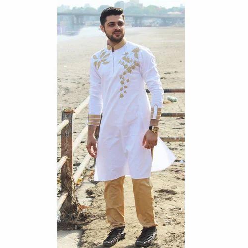 282dc74f2e5 Cotton White Designer Long Kurta Pyjama