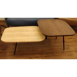 Rectangular Powder Coated MS Center Table with Wooden Top, for Hotel