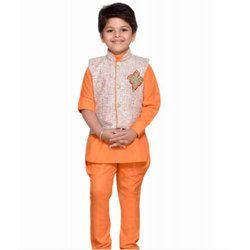 Boys Orange Kids Kurta Pyjama Waistcoat Set