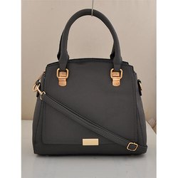 Black Leather Hand Bag, Size: 8-12 inch (Height)