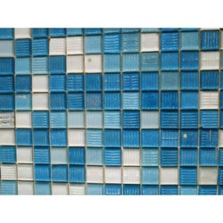 Blue, White Square Glass Mosaic Swimming Pool Tile, Thickness: 6 - 8 mm, Packaging Type: Carton Box