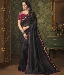 Party Wear Stylish Black Color Silk Trendy Saree, With Blouse