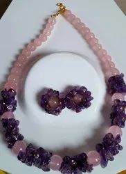 Natural Round Rose With Amethyst Combined Necklace, Size: 14 Inch To 16 Inch