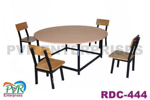 Wooden Color Rubber Woodsteel Round Table With Four Chairs Rs