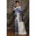 Kanjivaram Silk Saree in Steel Gray and White