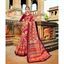 Multi Designer Casual Wear Organza Silk Saree And Maroon Blouse