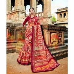 Multi Designer Casual Wear Organza Silk Saree and Maroon Blouse