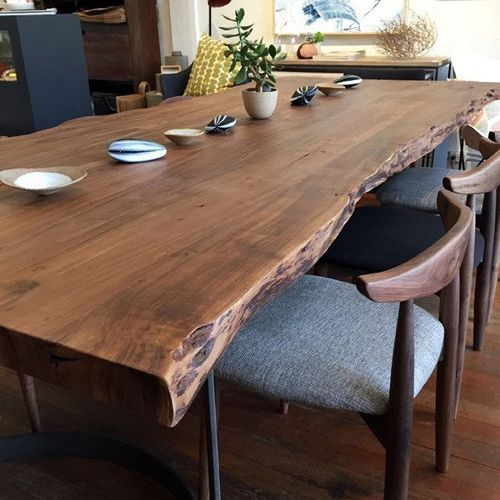 Natural Wood Dining Room Tables: Natural Live Edge Wooden Slab Tables
