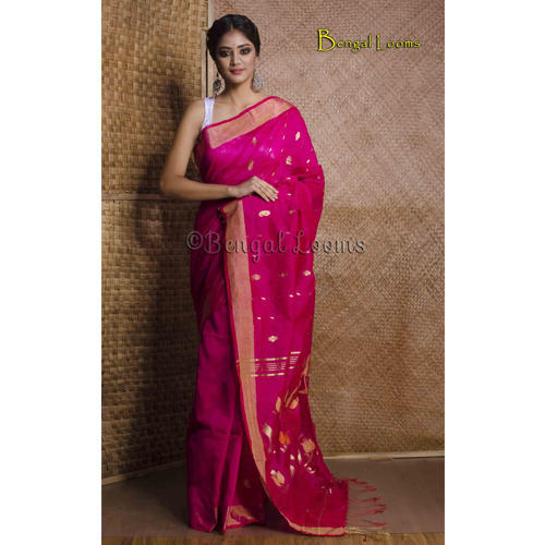 14820f25d9 Pure Handloom Cotton Silk Saree in Rani and Gold at Rs 3900 /piece ...