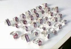 Diamond Cut Stone Silver India Alexandrite Rings Jewelry