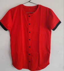 Round Neck With Buttons Hosiery Mens T.shirt