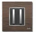8 Module Black Wood Square Modular Switch Plate