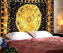 Mandala Leaves Printed Blue Bohemain Cotton Wall Tapestries
