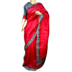 Georgette Red Handloom Saree with Blouse Piece