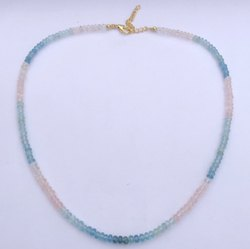 Natural Morganite & Aquamarine Stone Faceted Rondelle Beads Necklace With Gold Clasp
