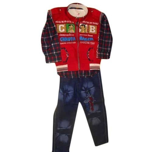 Full Sleeve Jeans Printed Children Suit