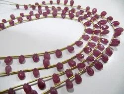 Natural Ruby Pear Shape Briolette Beads Size 4x7mm To 6x10mm Graduated Strands 10 Inches.