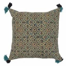 Floral Printed Cushion Cover with tassels