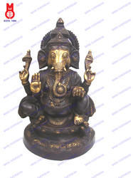 val Base 4 Hands Ganesh Sitting Statue