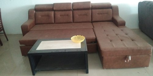 Brown L Shape Sofa Bed With Storage Rs