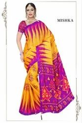 Fancy Lace Border Georgette China Silk printed Saree, With blouse piece, 5.5 m (separate blouse piece)