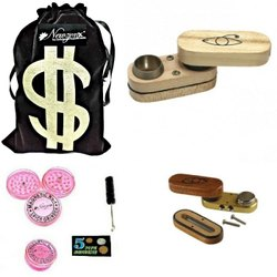 Hardwood Monkey Pipe/American Design Tobacco Pipe 2 Inch Incl. Accessories and Fancy Velvet Pouch