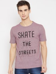 Men Purple Printed Round Neck T-shirt