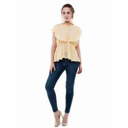 9e279cbd787ea Georgette Plain Shirt Style Frill Top