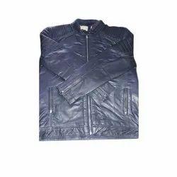 Blue Hooded Full Sleeve Leather Jacket