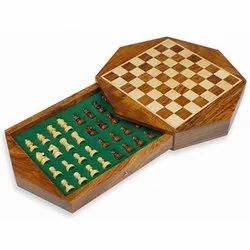 Octagonal Shaped Flat Drawer Wooden Magnetic Chess Set