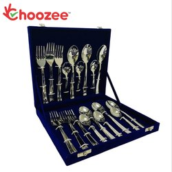 Choozee - 18-Pieces Designer Cutlery Set - 6 Dessert Spoons, 6 Dessert Forks & 6 Baby Spoons (Stainl