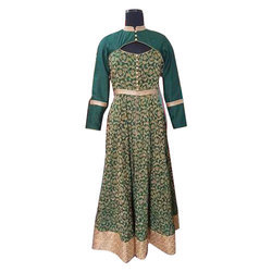 Party Wear Ladies Green Gown