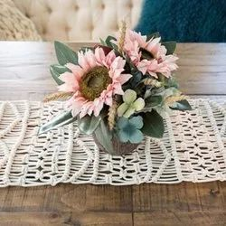 Handmade Natural Macrame Table Runner Wedding Table Centerpiece