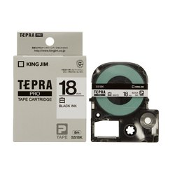 Tepra Label Tape SS18KW Pro Cartridge 18mm Black on White